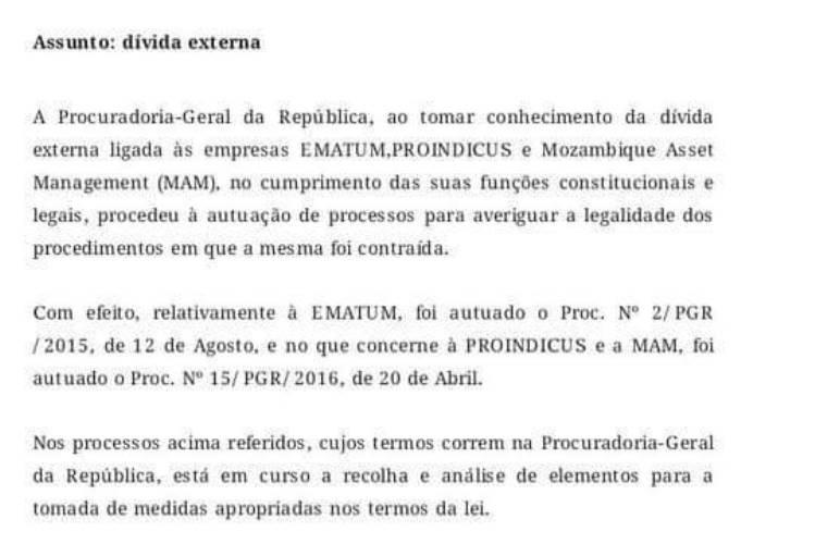 PGR investiga Ematum