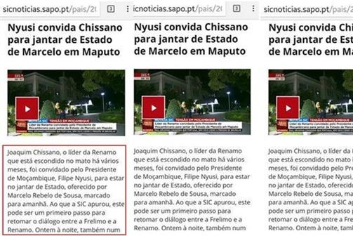 """Atribuição da """"liderança"""" da Renamo à Chissano pela SIC de Portugal torna-se viral nas redes sociais"""